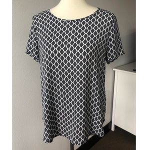 Pleione Short Sleeve Blouse Blue Black White M